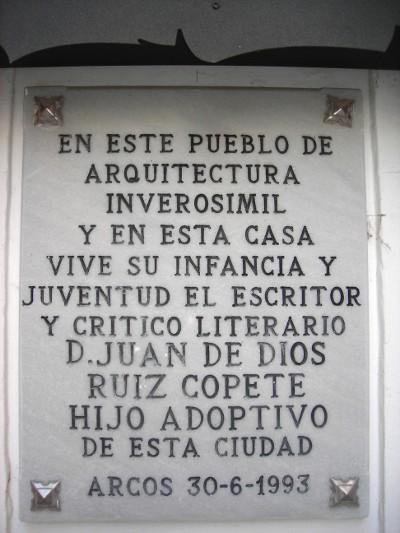 Lapida homenaje al escritor Juan de Dios Ruiz Copete