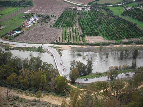Río Guadalete desbordado. Vista desde mirador de Arcos de la Frontera