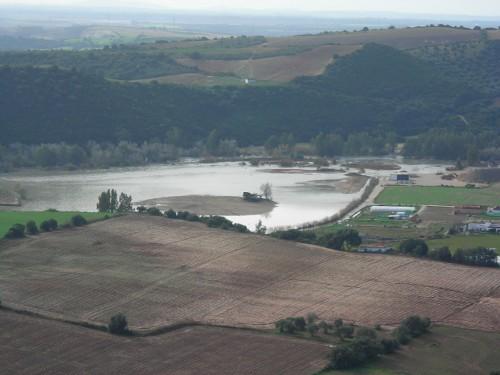 Río Guadalete desbordado. Vista desde terraza casa rural Rincón de las Nieves